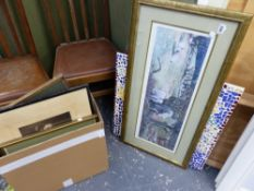 A MIXED SELECTION OF DECORATIVE PAINTINGS, PRINTS, A MOSAIC PANEL, ETC.