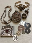 A COLLECTION OF EASTERN WHITE METAL AND CONTINENTAL SILVER JEWELLERY, COINS ETC.
