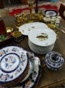 A VICTORIAN STONE WARE PART DINNER SERVICE, VARIOUS BRASS WARES, ETC.