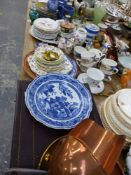 A CHINESE BLUE AND WHITE PLATE, VARIOUS VICTORIAN AND OTHER DECORATIVE CHINA WARES, SMALL QUANTITY