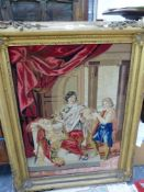 A LARGE VICTORIAN GILT FRAMED EMBROIDERED PANEL.