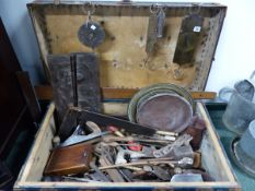 VARIOUS VINTAGE WOOD WORKING TOOLS IN A TRUNK.
