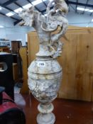 A CARVED MARBLE EWER.