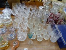 A QUANTITY OF ANTIQUE AND LATER DRINKING GLASSES ETC.