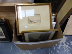 A MIXED SELECTION OF 19th C. AND LATER ENGRAVINGS, WATERCOLOURS AND OTHER LATER PICTURES.