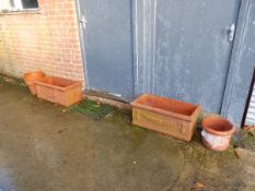 A PAIR OF RECTANGULAR CLASSICAL STYLE TERRACOTTA PLANTERS AND OTHERS.