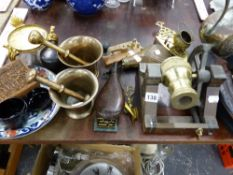 TWO 18th C. PESTLE AND MORTAR, A SHOT FLASK, EASTERN COFFEE POT, ORIENTAL CARVED BOX ETC.