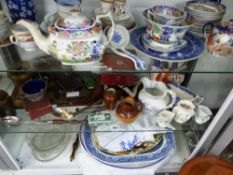 A COLLECTION TO INCLUDE GEORGIAN POCKET BALANCE, SMALL JEWELLERY BOX, VICTORIAN CHINA WARES,