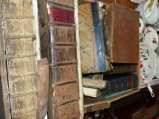 QUANTITY OF ANTIQUE BOOKS AND BINDINGS.