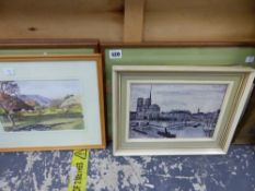 THREE FRAMED HUNTING PRINTS, THREE FURTHER PRINTS AND A WATERCOLOUR.