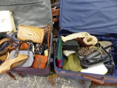 TWO SUIT CASES CONTAINING VINTAGE HANDBAGS, SHOES, ETC.