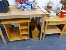 A SMALL KITCHEN TABLE, AN OCCASIONAL TABLE, MAGAZINE RACK, AND A TROLLEY.