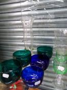 ANTIQUE COLOURED GLASS FINGER BOWLS, AN ART NOUVEAU VASE, ETC.