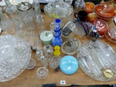 SIX SILVER MOUNTED DRESSING CASE JARS, CONDIMENT BOTTLES, DECANTERS AND OTHER GLASS WARES.