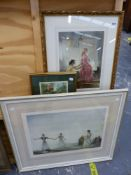A SIGNED PRINT BY WILLIAM RUSSELL FLINT, TWO MODELS, A FURTHER PRINT CASTANETS WITH GALLERY BLIND