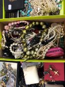 A LARGE COLLECTION OF VINTAGE AND MODERN COSTUME JEWELLERY.