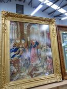 A VICTORIAN NEEDLEWORK PICTURE IN GILT FRAME.