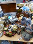 A VICTORIAN COPPER SAUCEPAN, DUCK ORNAMENTS AND PAPERWEIGHTS, VARIOUS SHELLS, AN EDWARDIAN