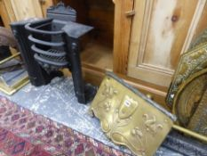 A SMALL IRON FIRE GRATE, ART NOUVEAU SMOKE HOOD AND TWO FENDERS.