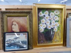 OIL PAINTING PORTRAIT OF A LADY, A STILL LIFE STUDY OF FLOWERS, AND AN ORIENTAL PRINT.