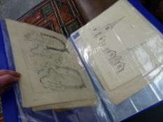 A QUANTITY OF 19th C. AND OTHER PRINTS AND PICTURES IN TWO FOLIOS.