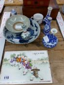 A CHINESE CERAMIC PLAQUE, ARCHAIC STYLE BOWL, SMALL VASES, AND TWO WORK BOXES.