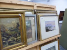FIVE 19th C. WATERCOLOURS AND A SMALL OIL PAINTING.