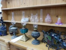 THREE ANTIQUE OIL LAMPS, THREE STAIN GLASS HALL LANTERNS, ETC.