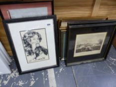 TWO FRAMED INDENTURE, VARIOUS 19th C. ENGRAVINGS, INC. MILITARY SUBJECTS.