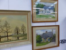 TWO WATERCOLOURS BY J. DOWNIE, FIVER SMALL OIL PAINTINGS BY J. RANGE, AND A SMALL QUANTITY OF