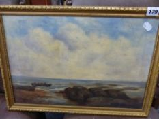 A 19th C. OIL ON CANVAS, LOBSTER FISHERMAN,