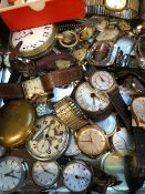 A JAEGER LECOULTRE WWII POCKET WATCH, A VINTAGE ORIS, AND A LARGE COLLECTION OF VARIOUS VINTAGE