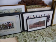 A SET OF FRAMED MILITARY PRINTS, COSTUME PRINTS AND OTHER DECORATIVE PICTURES.