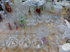 A QUANTITY OF VARIOUS DECANTERS AND OTHER GLASS WARES ETC.
