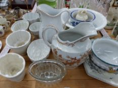 SIX VARIOUS JELLY MOULDS INC. SHELLEY, VARIOUS WASH JUGS, BOWLS ETC.