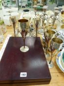 A PLATED CUTLERY SET, SIX PLATED GOBLETS, VINTAGE COINS ETC.