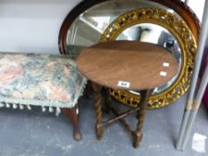 TWO VINTAGE WALL MIRRORS, A STOOL AND A SMALL TABLE.