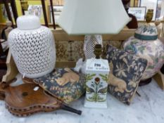 THREE ORIENTAL STYLE TABLE LAMPS, BELLOWS ETC.