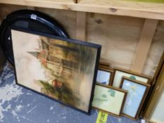 TWO OVAL FRAMED PHOTOS OF CHILDREN AND VARIOUS DECORATIVE PICTURES. (9)