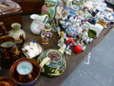 A LLADRO FIGURINE, VICTORIAN LUSTRE JUGS, VICTORIAN RELIEF MOULDED JUGS, AND VARIOUS OTHER