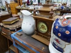 A VICTORIAN MANTLE CLOCK, A ZITHER, A LEATHER SUIT CASE, BAMBOO TABLE, VINTAGE PHOTO ALBUM AND CHINA