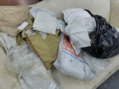 A QUANTITY OF TABLE LINENS, EMBROIDERED TEXTILES ETC.