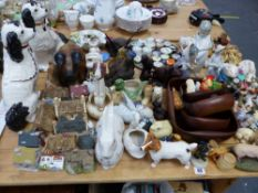 A COLLECTION OF CRUMMLES ENAMEL BOXES, A LLADRO FIGURINE, BESWICK AND OTHER FIGURINES, STAFFORDSHIRE
