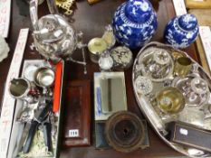 A PAIR OF WATERFORD CUT CRYSTAL CONDIMENTS, OTHER PLATED WARES, TWO GINGER JARS, A SPIRIT KETTLE