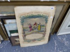 19th C. WATERCOLOUR, TOGETHER WITH VARIOUS PRINTS AND OTHER PICTURES.