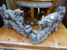 TWO CARVED BLACK FOREST TYPE WOOD BRACKETS, A WILD BOAR AND A WOLF.