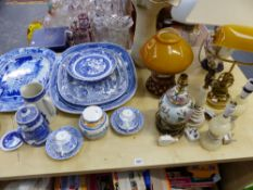 A QUANTITY OF VICTORIAN TRANSFER WARE MEAT PLATTERS, VARIOUS TABLE LAMPS, ETC.