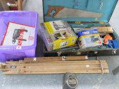 A QUANTITY OF VARIOUS WORKSHOP TOOLS AND TO FOLDING EASELS.