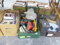 A QUANTITY OF VARIOUS POWER TOOLS AND TWO BOXES OF CDS,
