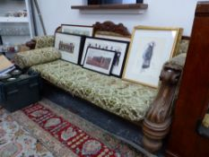 A LARGE 19th C. SHOW FRAME HALL SETTEE.